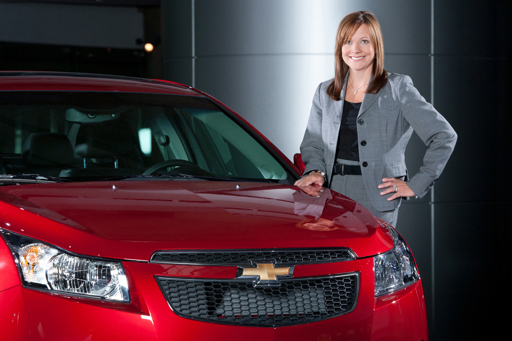 Dec. 10, 2013 - Detroit, Michigan, U.S. - General Motors named 33-year company veteran Mary Barra as CEO. Barra will become the first female CEO of a U.S. car company. PICTURED: Sept. 2, 2010 - General Motors Senior Vice President Global Product Development MARY BARRA with a 2011 Chevrolet Cruze at GM World Headquarters. (Credit Image: © John F. Martin/General Motors/ZUMAPRESS.com)