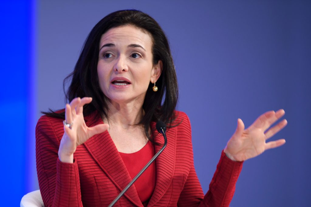 Sheryl Sandberg, Chief Operating Officer (COO) of Facebook, speaks during a session at the Congress centre on the second day of the World Economic Forum, on January 18, 2017 in Davos. With the world's elite holding its breath until Donald Trump becomes the next US president, outgoing Vice-President Joe Biden addresses the World Economic Forum in Davos / AFP / FABRICE COFFRINI (Photo credit should read FABRICE COFFRINI/AFP/Getty Images)