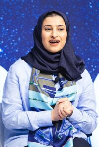 """Sarah bint Yousif Al-Amiri, Minister of State for Advanced Sciences of the United Arab Emirates; Young Global Leader capture during the Session """"Sustaining the Space Economy """" at the World Economic Forum - Annual Meeting of the New Champions 2019 in Dalian, People's Republic of China, July 2, 2019. Copyright by World Economic Forum / Sikarin Fon Thanachaiary"""
